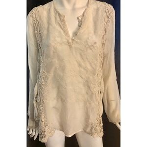 Johnny Was Cream Colored Eyelet & Lace Top